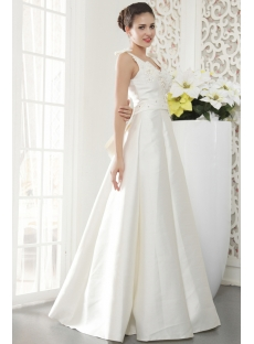 Floor Length V-neckline Petite Modest Bridal Gown with Bow IMG_5452