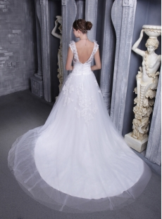 Floral Bridal Gown with Open Back for Spring 1122