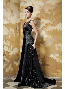 Glamorous Black Long Vintage Prom Dress with V-neckline GG1046