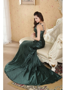 Green and White Formal Military Prom Dress with One Shoulder IMG_5218