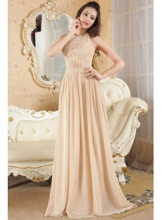 Halter Champagne Evening Party Dress Cheap IMG_5239