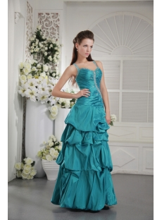 Halter Teal Blue Quinceanera Dress with Cheap IMG_9795