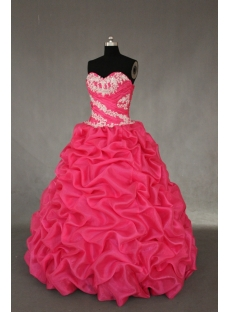 Hot Pink Floor Length Organza Quinceanera Dress IMG_0483