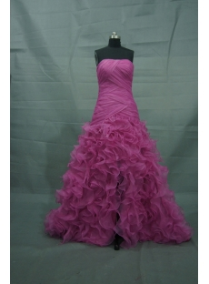 Hot Pink Floor Length Satin Organza Quinceanera Dress 2480