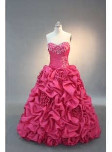 Hot Pink Strapless Sweetheart Taffeta Quinceanera Dress IMG_2092