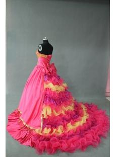 Hot Pink And Gold Princess Strapless Sweetheart Taffeta