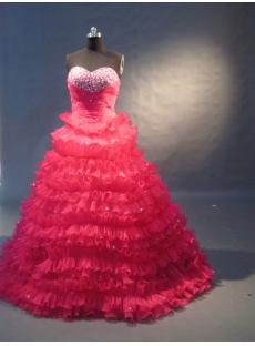 Hotpink Floor Length Satin Organza Quinceanera Dress 1505