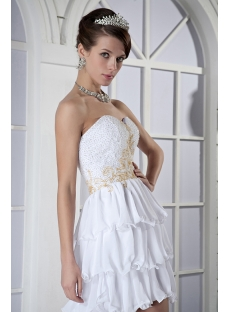 Ivory with Gold Beads High-low Short Destination Beach Bridal Gown GG1027