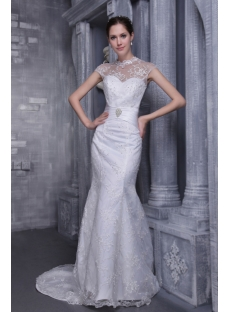 Lace Illusion Mermaid Modest Bridal Gown with Cap Sleeves 1067