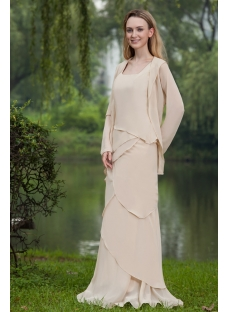 Light Champagne Long Modest Groom of Bride Dress with Long Sleeves Jacket IMG_7689