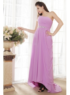 Lilac One Shoulder Plus Size Prom Dress with High-low IMG_5391