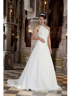 Long Beaded Beautiful One Shoulder Princess Bridal Gown GG1034