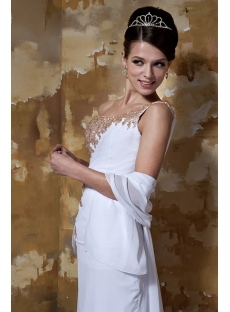 Long Gold Beading One Shoulder Beach Bridal Gown for Summer GG1099