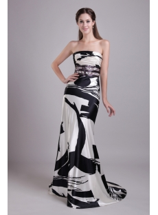 Long Print Black and White Celebrity Gown IMG_0740