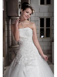 Lovely 2013 Princess Bridal Gown with Drop Waist GG1091