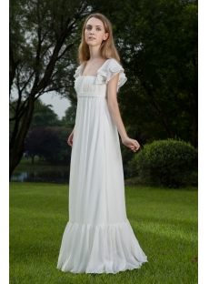 Modest Square Neckline Pregnancy Bridal Dress with Cap Sleeves IMG_8420