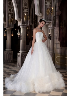 New Arrival Beautiful Ostrich Feather Bridal Ball Gown