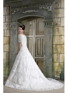 Off Shoulder Cinderella Lace Bridal Gown with Sleeves GG1076