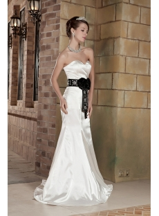 Off White with Black Affordable Informal Wedding Dresses GG1003