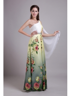 One Shoulder Printed Floral Chiffon Colorful Evening Dress