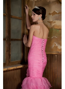 Organza Pink Long Mermaid 2012 Prom Gown GG1018