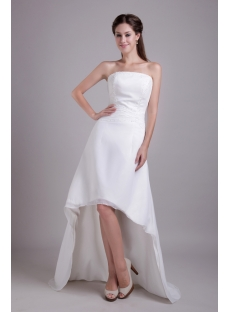 Outdoor Casual Chiffon Bridal Gown with High-low Hem IM_0716