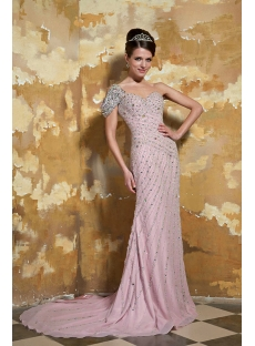 Pale Pink One Shoulder Luxurious Long Formal Evening Dresses with Short Sleeve GG1062