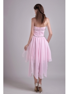 Pale Pink Strapless Graduation Dress with High-low Hem 0897