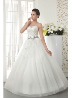 Petite Elegant Bridal Ball Gown Dress with Bow IMG_5512