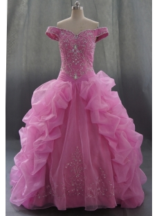 Pink Floor Length Satin Organza Quinceanera Dress 07595