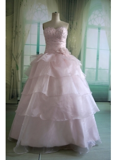 Pink Floor-Length Satin Organza Quinceanera Dress DSC5501