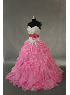 Pink Floor Length Taffeta Organza Quinceanera Dress IMG_0378