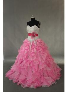 Pink Floor Length Taffeta Organza Quinceanera Dress IMG_0378