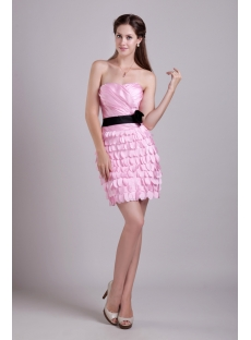 Pink and Black Column Short Celebrity Dress 0888
