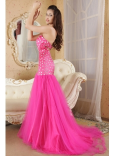 Pretty Beaded Fuchsia Mermaid Prom Dresses with Train IMG_5249