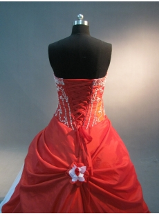 Red And White Floor Length Taffeta Quinceanera Dress IMG_1681
