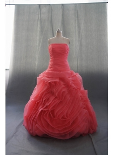 Red Floor Length Satin Organza Wedding Dress 08486
