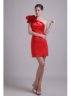 Red Mini One Shoulder Graduation Dress 1010