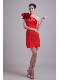 Red Mini One Shoulder Graduation Dress 1010