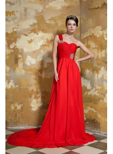 Red One Shoulder Evening Gown with Drop Shawl GG1051