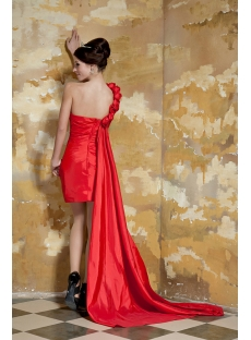 Red One Shoulder Short Cocktail Dress with Detachable Train GG1054