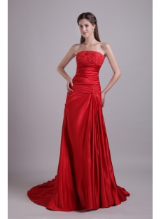 Red Satin Simple Mature Bridal Gown for Sale 0820
