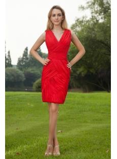 Red V-neckline Short Mother of Bride Dress IMG_8084