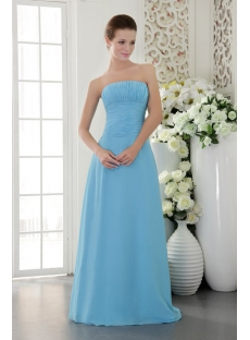 Romantic Long Blue Chiffon Bridesmaid Gown Cheap IMG_9543