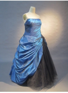 Royalblue A-Line Strapless Taffeta Tulle  Ball Gown 0431