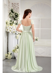 Sage Chiffon Plus Size Prom Gown Dress with Cap Sleeves IMG_9755