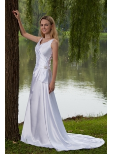 Satin Elegant Simple Bridal Gown with Corset Back IMG_7905