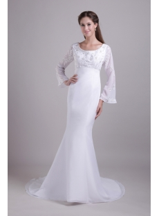 Scoop Long Sleeves Mermaid Winter Wedding Dress 081