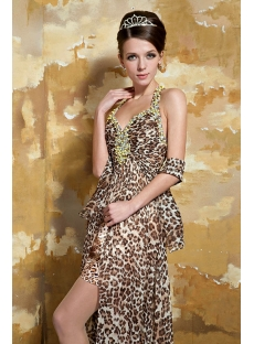 Sexy Print Long Leopard Prom Dress 2013 with Open Back GG1063