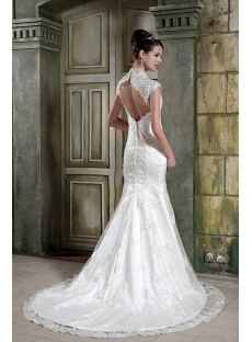 Sheath Lace V-neckline Bridal Gown with Keyhole GG1083